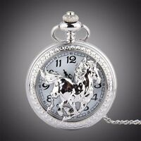 Western Jewelry Bright Silver Plated Horse Pocket Watch W/Chain
