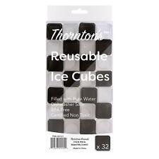 Thornton's Reusable Plastic Square Drink Ice Cubes, Tuxedo Colors, Set of 32