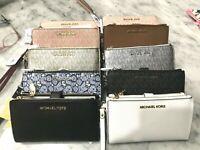 Michael Kors Jet Set Double Zip Phone Case Wallet Wristlets Multiple Styles $178