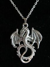 "18"" Inch 925 Sterling Silver Flying Dragon Charm / Pendant Necklace"