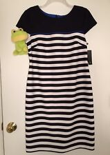 AB Studio Size 12 NWT Cap Sleeve Striped Black White With Blue Trim Sheath Dress