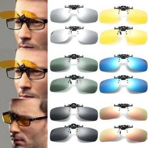Eyewear Clip On Flip Up Over Shield Glasses Sun Driving Blue Block Sunglasses A