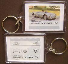 1954 PORSCHE SPYDER 550-06 Car Stamp Keyring (Auto 100 Automobile)