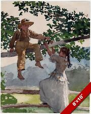 YOUNG BOY & GIRL PLAYING ON FENCE & TREE PAINTING AMERICAN ART REAL CANVAS PRINT