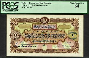 Turkey Ottomane One Livre L.1332 (1914) Pick-68r Choice UNC PCGS 64