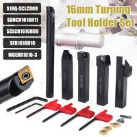 5Pcs 16MM Shank Lathe CNC Turning Tool Holder Boring Bar With Carbide Insert Set