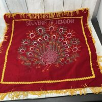 Vintage WWII Era Hong Kong Fringed Silk and Velvet Pillow Case Peacock Red