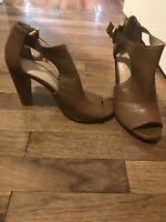 Womens Banana Republic 7.5 Brown Leather Peep Toe Rear Heel Pump