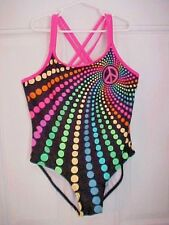 OP Girls Bathing Swim Suit 1 Piece Size Large Peach Sign Brightly Colored Dots