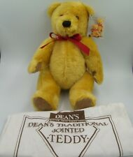 Dean's Co London Gold Jointed Teddy Bear Mohair Wool with Dust Bag