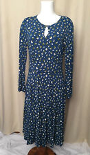 Boden Marilyn Dress  blue Size US 12L UK 16L Long Sleeve Printed Style # WH722