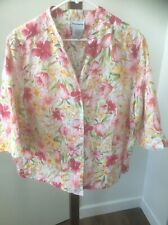 1d74850cf80c48 BonWorth multi-color floral 3 4 sleeve Embroidered PINK GREEN Blouse Size  XLP