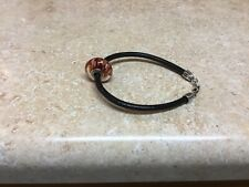 "Pandora Bracelet, Sterling Silver Black Leather Cord/ Orange Bead, 8"" Long"