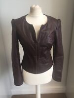 Veste IKKS En Cuir  Bordeaux Impression Croco TM (36-38) TBE