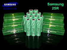 12 SAMSUNG 25R 18650F HIGH DRAIN 2500mAh 20A Rechargeable Battery/Green Case x6