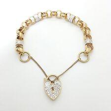 9ct (375,9K) Yellow Gold Belcher Chain Bracelet Heart Lock with Diamantes
