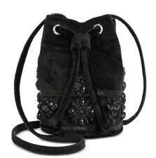 Steve Madden NWT $98 Black Velvet Rhinestone Beaded Mini Bucket Bag Crossbody