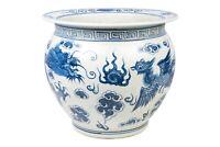 "Blue and White Porcelain Dragon and Phoenix Fish Bowl 15"" Diameter"