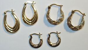 FABULOUS LOT of (3) VINTAGE PAIRS of GOLD on STERLING Designer Signed EARRINGS!