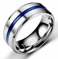 Ring Unisex Edelstahl 316L Titanium Silberfarbe mit Blau Nut 8 mm Breit (24B)