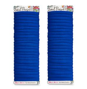 Soul Projekt Hair Bands 50 Pack 8mm No Metal Bobbles Blue Elastic Hair Tie