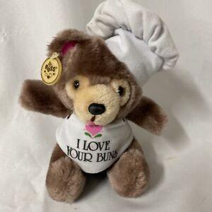 "Vtg  Russ Berrie Baker Chef I Love Your Buns 8"" Teddy Bear Plush Tag Korea #768"