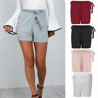 Women Holiday Belted High Waist Casual Ladies Summer Beach Hot Pants Mini Shorts