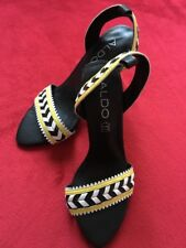 New Aldo Taxi Yellow White Sexy Unique Black High Heels Size US 5 Leather Shoes