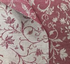 Linen fabric 200gsm Damask Jacquard Floral Botanical. Pale Red beige flax cotton