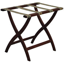 Wooden Mallet Designer Curve Leg Luggage Rack With Tapestry Webbing New
