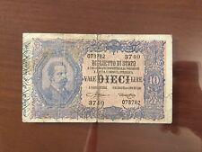 BIGLIETTO DI STATO LIRE 10 VITTORIO EMANUELE III EFF UMBERTO I 1923 RARA