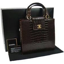 Authentic CHANEL Crocodile Skin Hand Bag Dark Brown Vintage GHW GOOD N00380