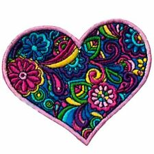 Pattern Heart (Iron on) Embroidery Applique Patch Sew Iron Badge