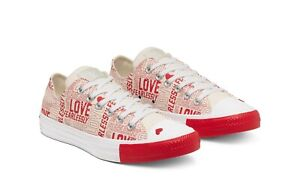"""New Converse """"Love Fearlessly"""" CTAS OX Womens Sz Canvas Shoes Red/White 567311F"""