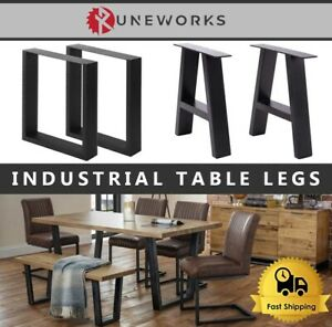 Industrial Steel Table Legs PAIR Square Trapezium A Frame Black Coffee Bench