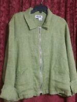 FLAX Women's Full Zip Jacket 100% Linen Small Pockets Solid Green Long Sleeve