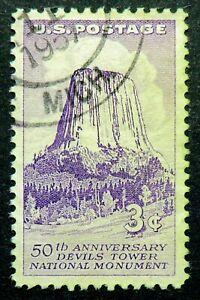 1084 used 1956 3c Devils Tower Wyoming National Monument Natural wonder landmark