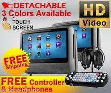"2018 GRAY DUAL 9"" DIGITAL TOUCHSCREEN HEADREST DVD PLAYER MONITORS HEADPHONES"