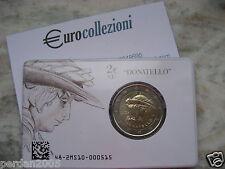 ITALIA 2016 2 EURO FDC UNC DONATELLO IN COINCARD UFFICIALE ZECCA I.P.Z.S.