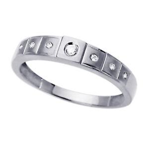 Men 14K White Gold Round CZ Seven Stone Wedding Band Ring / Free Gift Box