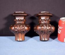 "*6"" Pair of French Antique Solid Walnut Corner Trim Pieces Salvage"