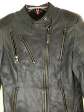 Hein Gericke Zip Cafe Racer Moto Jacket Distressed Riding Elastic Sides