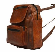 "15""  Vintage Style  Genuine Leather Rucksack Men's Backpack Causal"