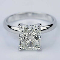 Solitaire 1.35 Carat Radiant Cut Diamond Engagement Ring 14k White Gold F SI1