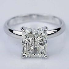 Solitaire .92 Carat Radiant Cut Diamond Engagement Ring 14k White Gold Vvs2 G