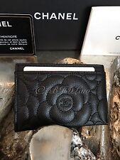 NWT CHANEL 2017 SO BLACK Caviar Camellia Flower Card Case Holder O-Case Wallet