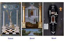 Antique Masonic Symbolic tracing art Poster ring 12x18 chart Freemasonry Print