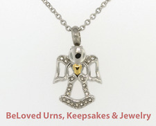 Angel Holding Gold Heart Cremation Jewelry Pendant Keepsake Urn w/Chain & Funnel