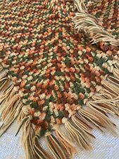 Vintage Mid Century Handmade Crocheted Yellow Green Orange Throw Afghan 🧶