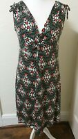 M&S Geometric Abstract Stretchy V Neck Dress Size 12